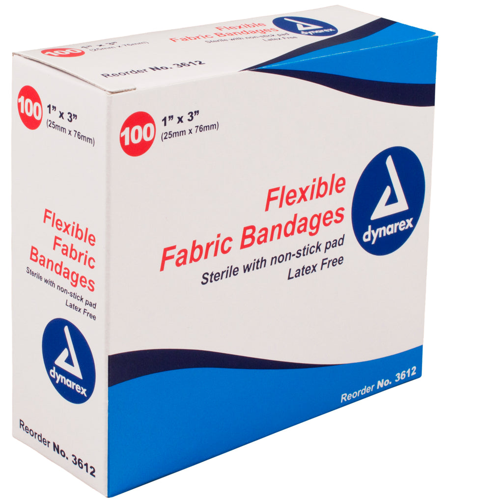 "Flexible Fabric Bandages dynarex 3612 1"" x 3"""