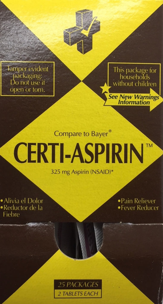 Aspirin - 25/2's (50 Tablets) Certified 504-041