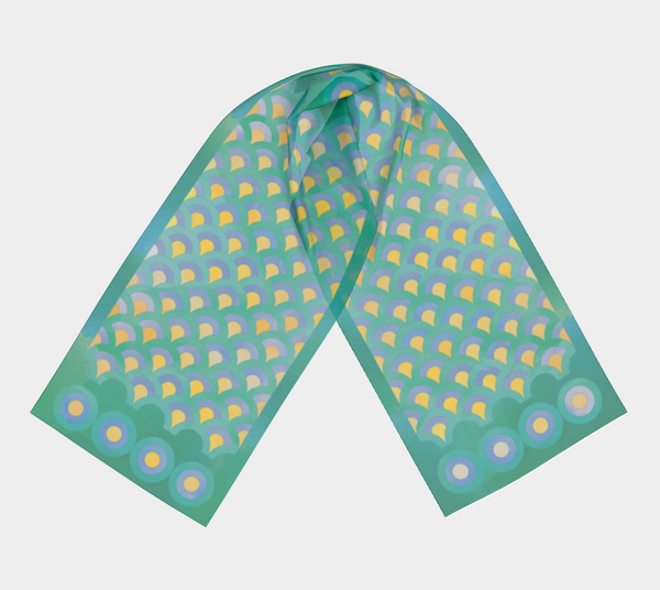 generous silky scarf featuring hand drawn, watercolor teal and yellow chevrons