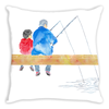 Original, hand-painted, watercolor drawing by Janice Lawrence featuring a grandpa and young boy fishing on a dock