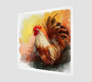 Early morning wake up call from this proud rooster, an original acrylic painting by Janice Lawrence will start your day off on the right foot.