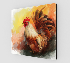 colorful rooster in early morning light, a fine art print of an original acrylic painting by Janice Lawrence