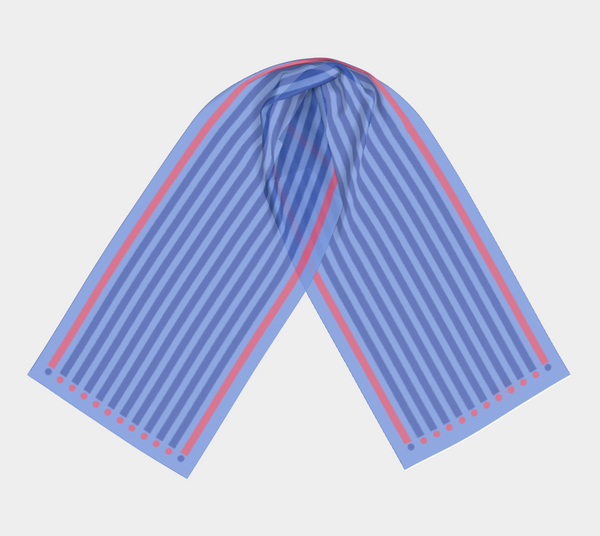 silky scarf patterned with blue and pink stripes and dots