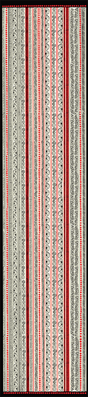 "Fun doodles in black, red and cream create an unusual and unique, 16"""" x 72"""" scarf by createnergy2017"