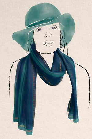 "Watercolor stripes and dots in red, teal and ink create an unusual and unique 16"""" x 72"""" scarf by Janice Lawrence. #createnergy2017"