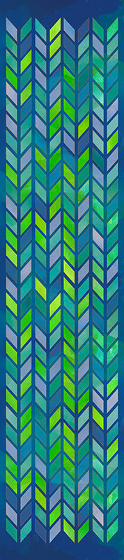 generous silky scarf featuring hand drawn, watercolor blue and green chevrons