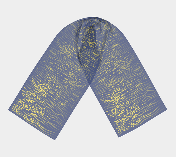 Beautiful, hand-painted scarf featuring sunlight shimmering in the water.