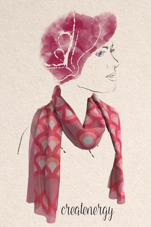 generous silky scarf featuring hand drawn, watercolor pink waves.
