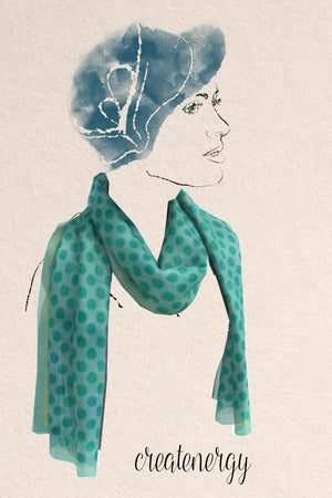 generous silky scarf featuring lovely teal watercolor dots