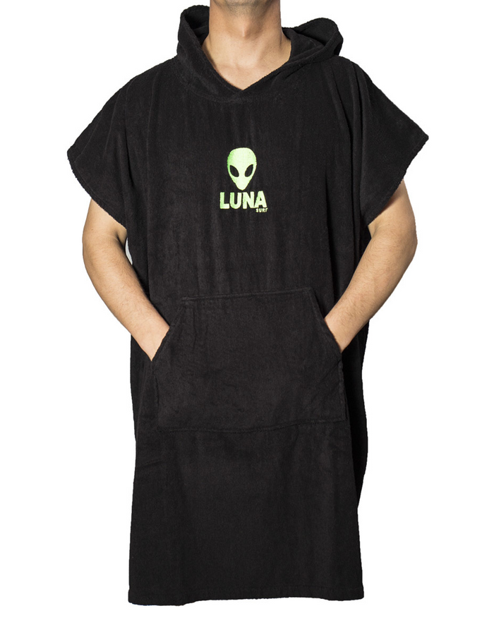 Lunasurf Change Robe Black Green Logos Adult
