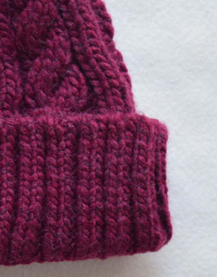 Maroon Cable Knit Beanie