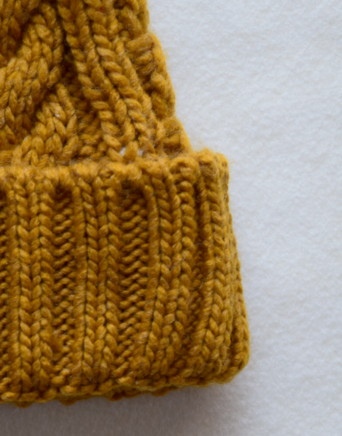 Mustard Cable Knit Beanie