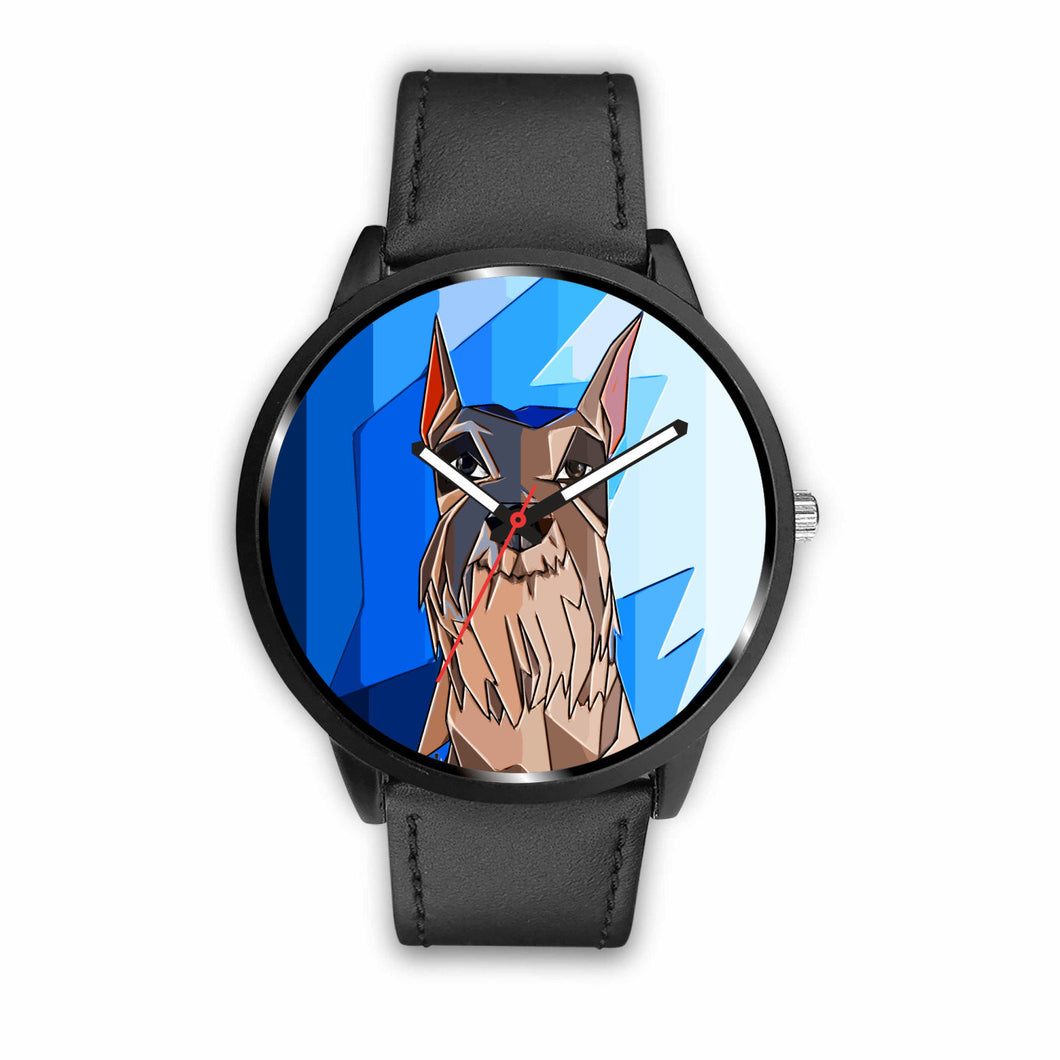 Blue Face Abstract Schnauzer Watch | Unique Designed Watch | Watch | Great Latin Clothing