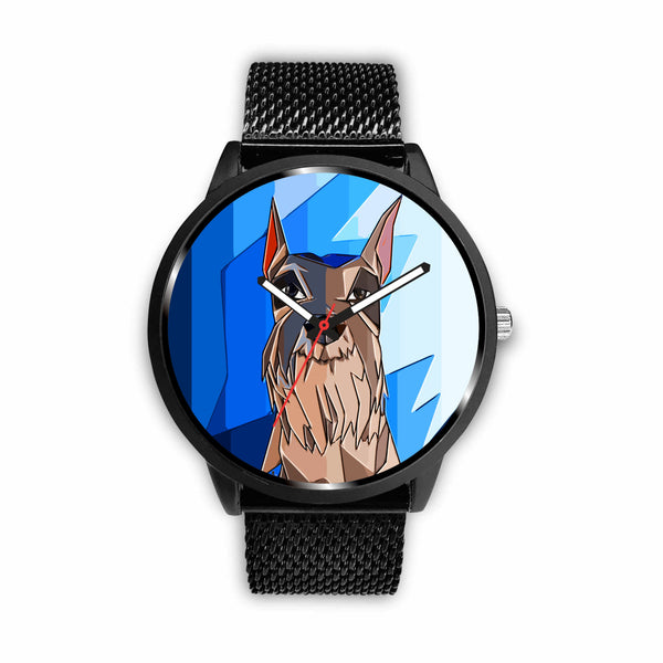 Blue Face Abstract Schnauzer Watch | Unique Designed Watch | Mens Fashion | Guys Clothing Only