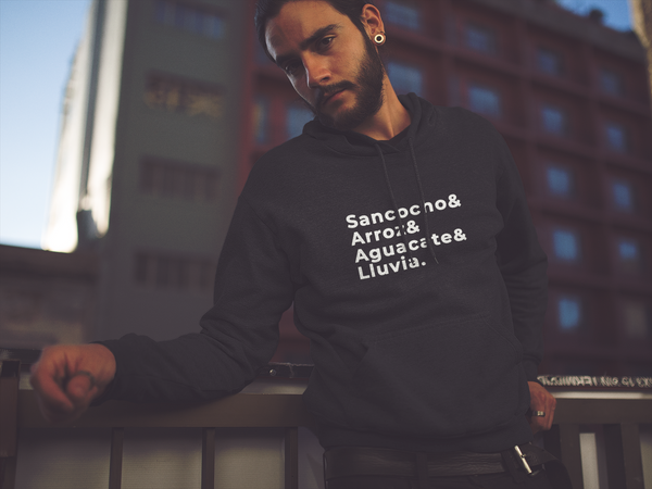 Sancocho Arroz Aguacate Lluvia | Latinx Hoodie | Mens Fashion | Guys Clothing Only