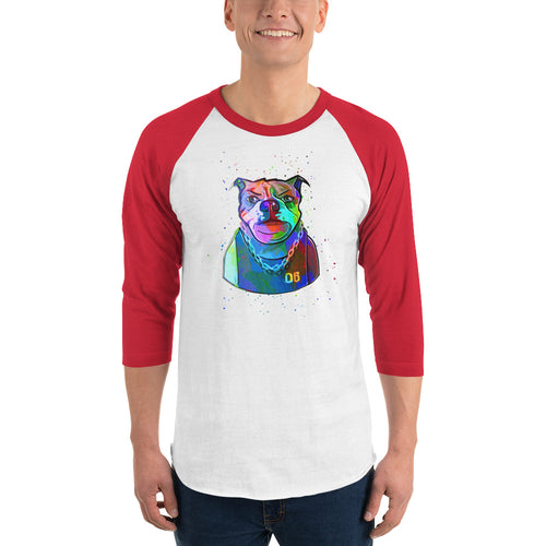 Baller Bulldog Abstract 3/4 Sleeve Shirt | Baseball Tee | Great Latin Clothing