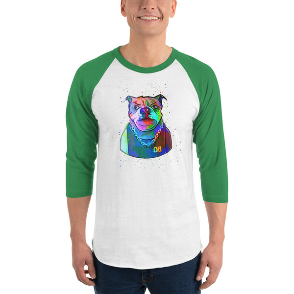 Baller Bulldog Abstract 3/4 Sleeve Shirt | Mens Fashion | Guys Clothing Only
