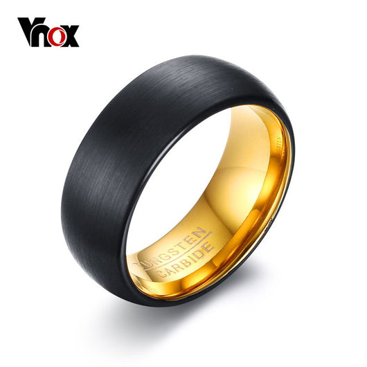 VNOX Black Tungsten Rings for Men Jewelry  8MM Tungsten Carbide Men's Ring Wedding Bands