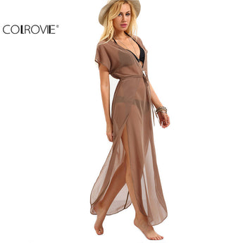 Ladies Brown Drawstring Waist V Neck Split Dresses Summer Beach Wear