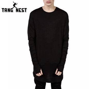 Long-Sleeve Men T-shirt Casual Solid O-Neck