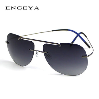 Titanium Rimless Sunglasses Luxury Super Light Eyewear