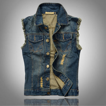 Denim vest men sleevless washed jeans