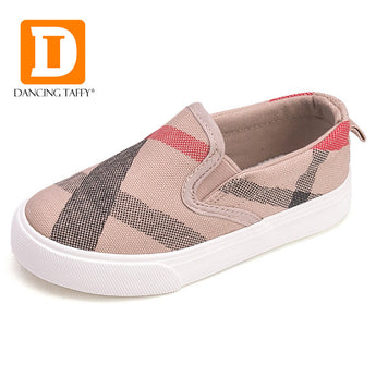 New 2017 Gingham Striped Children Shoes Brand Slip On Canvas Sneakers