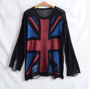 New Arrival UK Flag Sweaters Mujer 2015 Holes Ripped knitted Pullover Sweater Jumper Long Sleeve One Size Tops Women Sweaters