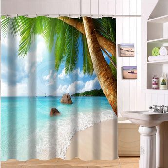 Beach summer ocean clouds sky sea nature Fabric Modern Shower Curtain