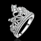 Silver Crown Rings for Women Fashion Crystal Jewelry Ring