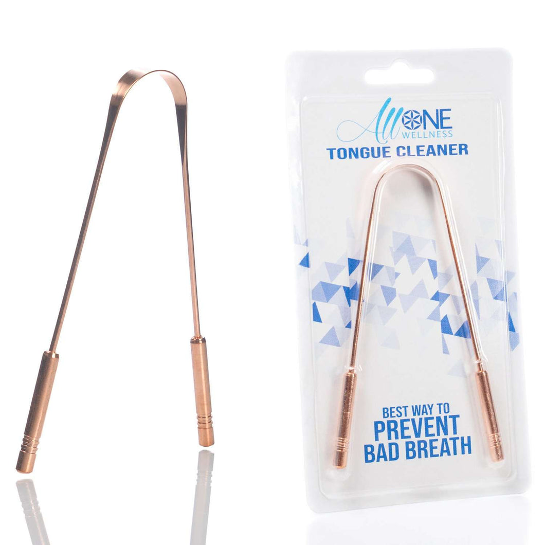 AllOne Wellness | Tongue Cleaner - Tongue Scraper /w Handle | Copper & Stainless Steel,Colin Traquair