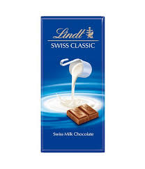 LINDT SWISS MILK CHOCOLATE 100G.