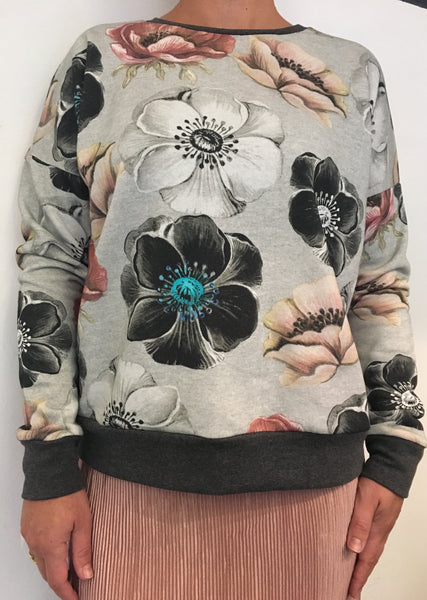 Sweatshirt med blomsterprint