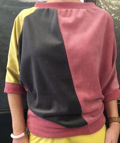 Velourbluse med color-block