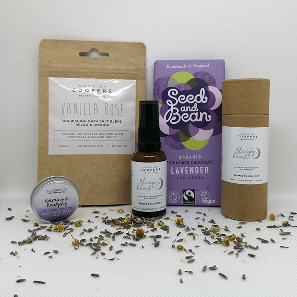 A Gift Box packed full of ethical products to encourage relaxation. A relaxation care package