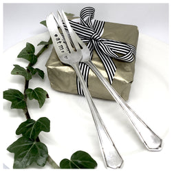 cake fork, chocolate brownie, hand stamped forks, personalised forks