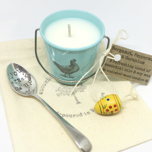 Candle Egg Cup with Vintage Egg Spoon
