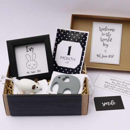 new baby gift, personalised gift, thoughtful gift, personalised baby box, baby gift, box of smiles