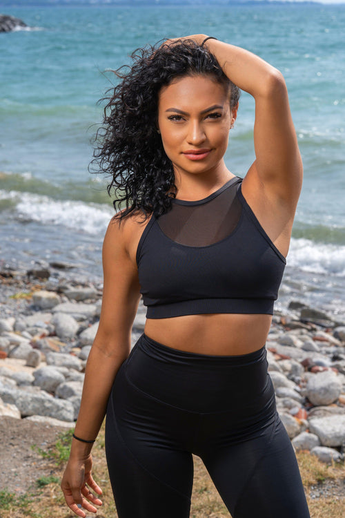 KNOCKOUT SPORTS BRA - BLACK SWAN