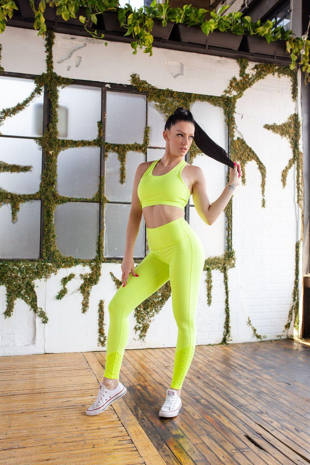 NEON YELLOW HW LASER CUT LEGGING - (only x1 M left!)
