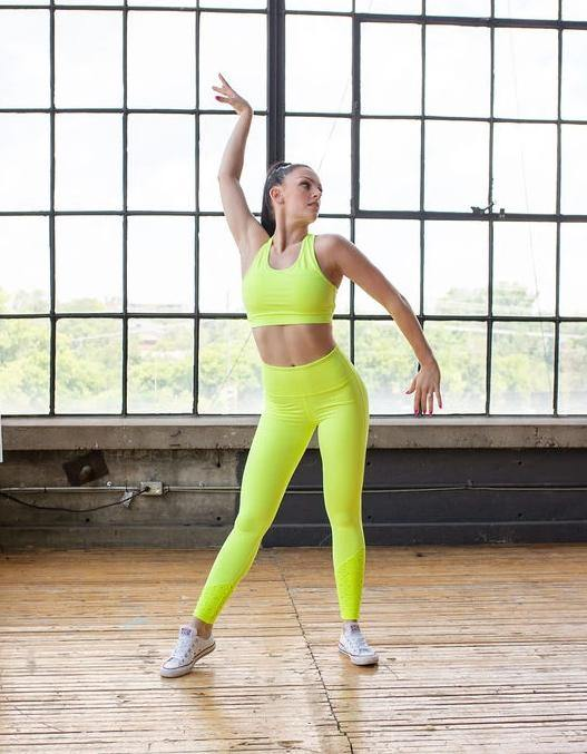 NEON YELLOW LASER CUT SPORTS BRA
