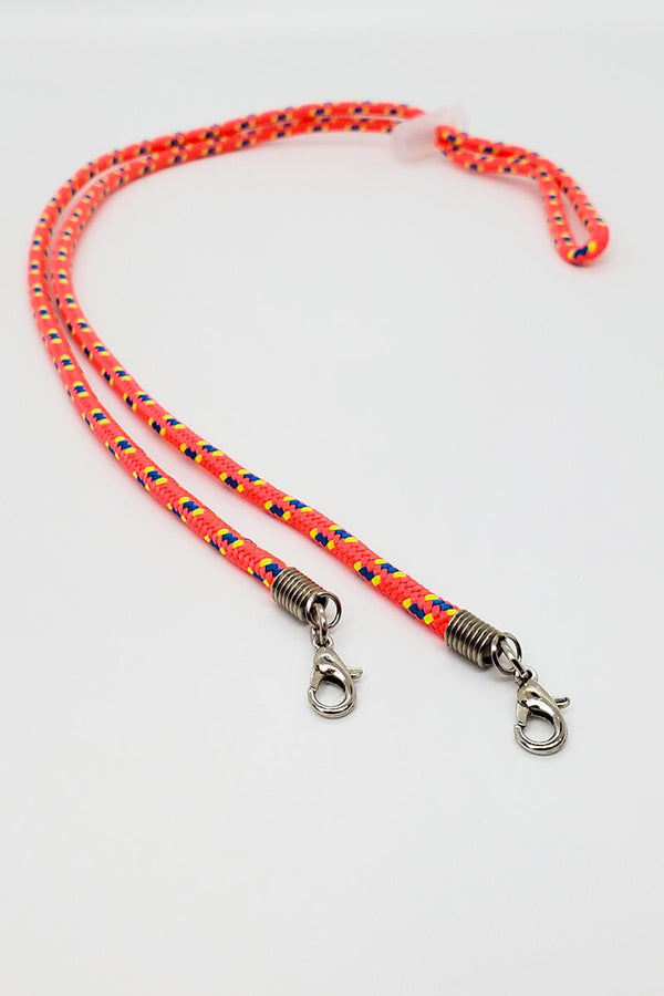 An Orange Adjustable Lanyard With Stripes