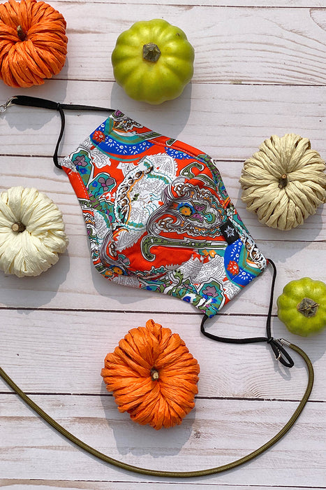 White/ Orange Paisley Premium Mask - Includes 4 Filters