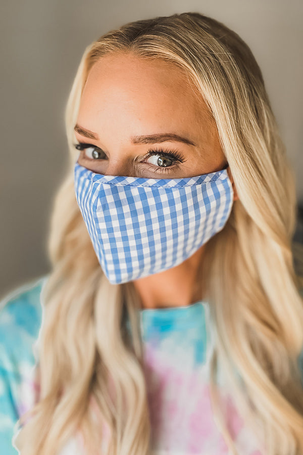 Blue Gingham Pattern Essential Mask