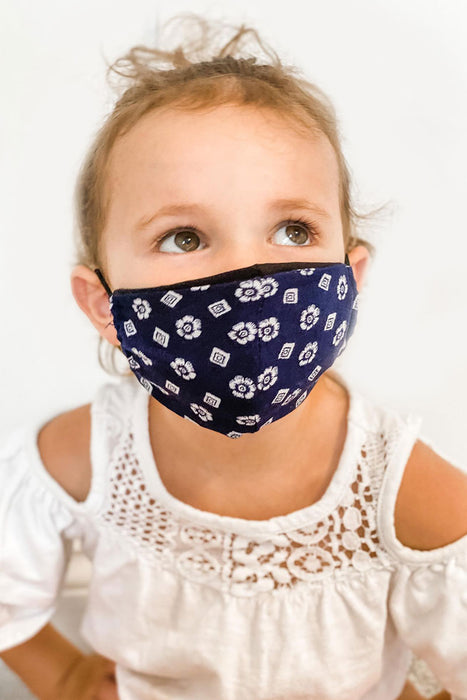 Toddler Navy Print Kids Basic Mask