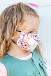 Girl Wearing Pink Kitty Kids Premium Mask - Includes Filter