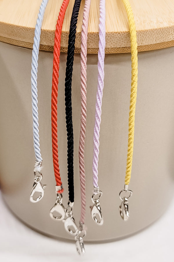 Solid Colored Simply Elastic Mask Lanyard