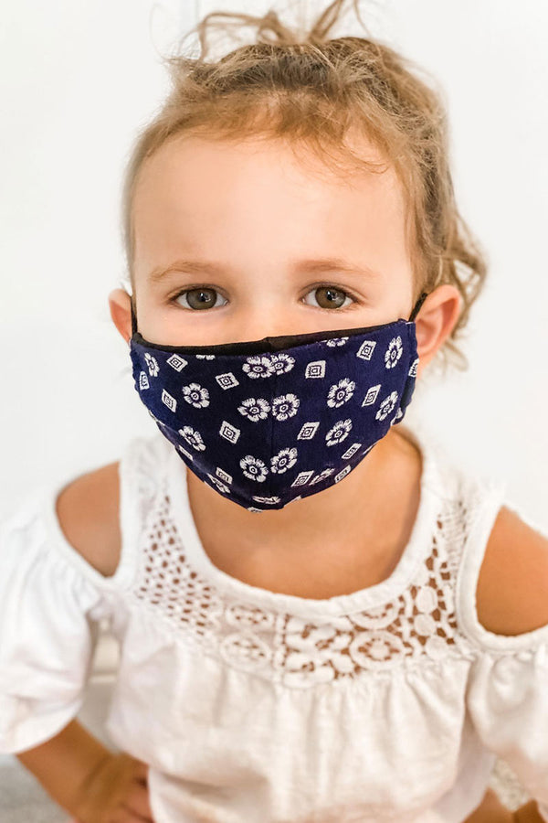 Navy Print Kids Basic Mask - Toddler