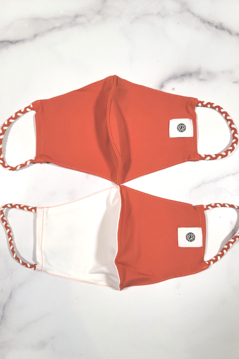 Burnt Orange & White Simple Masks- 2-Pack From PinkTag