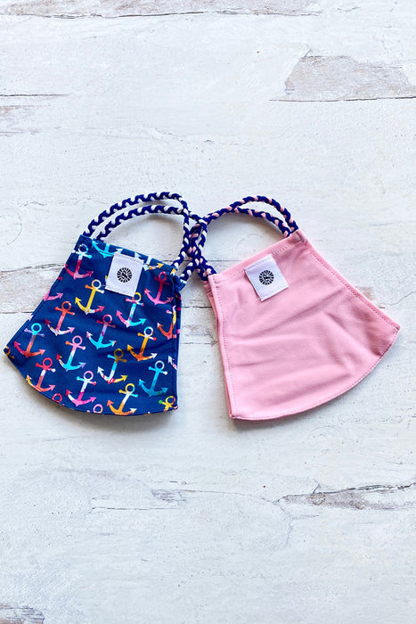 Blue & Pink Anchors Simple Masks- 2-Pack
